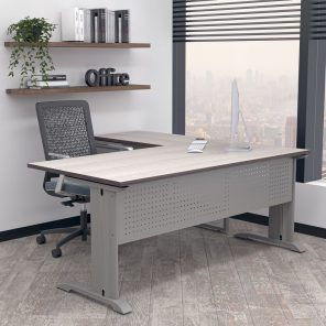Render of Indigo Series L-Shaped Laminate Office Desk with C-Legs
