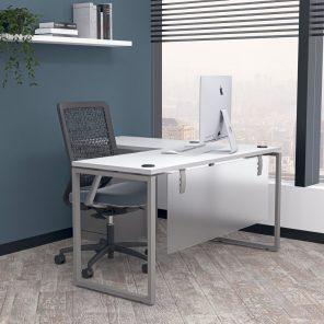 Digital Render of L-Shaped Office Desk with O-Leg