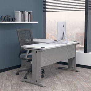 Render of Indigo Series L-Shaped Laminate Desk with C-Legs