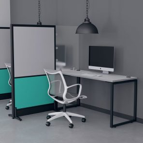 Render of Office Partition and Desk Divider Combination