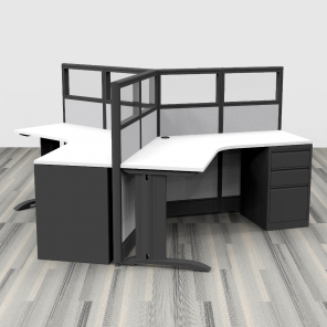 Render of 3-Person Cubicle Workstation