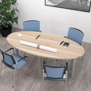 Render of 6 Person Conference Table with Metal Post Legs