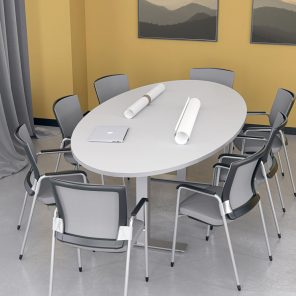 Render of 8 Person Oval Conference Table with Metal T-Post Legs
