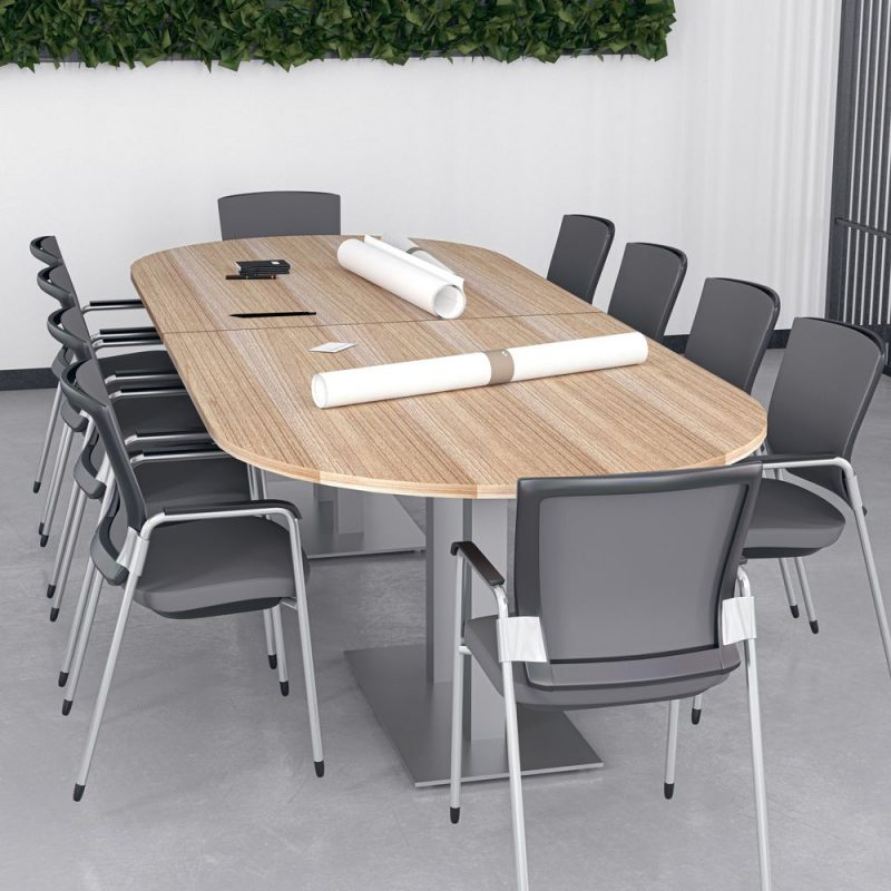 Render of 10 Person Conference Table with Metal Bases
