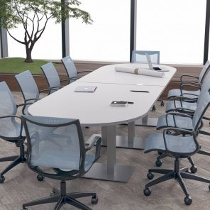 Render of 12 Person Racetrack Conference Table with Metal Bases