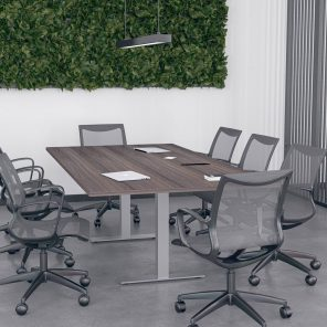 Render of 8 Person Rectangle Conference Table with Metal Bases