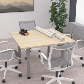 """Render of 46"""" Square Conference Room Table with Post Legs"""