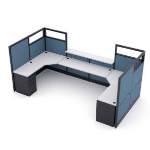 Render of U-Shaped Reception Desk Cubicle