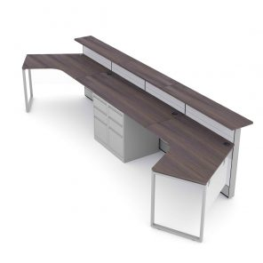 Render of Double Reception Cubicle Workstation