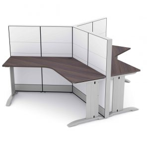 Render of 120 Degree 3-Person Cubicle Workstation