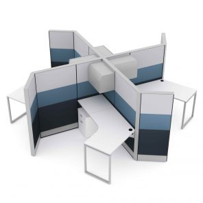 Render of 4-Person 120 Degree Cubicles and Workstations