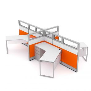 Render of 4-Person 120 Degree Cubicle Workstations
