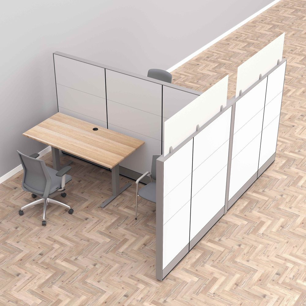 Render of Cubicle Wall Office Dividers with Sit-to-Stand Desks
