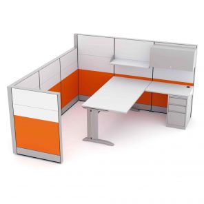 Render of Executive Office Cubicle with L-Shaped Desk