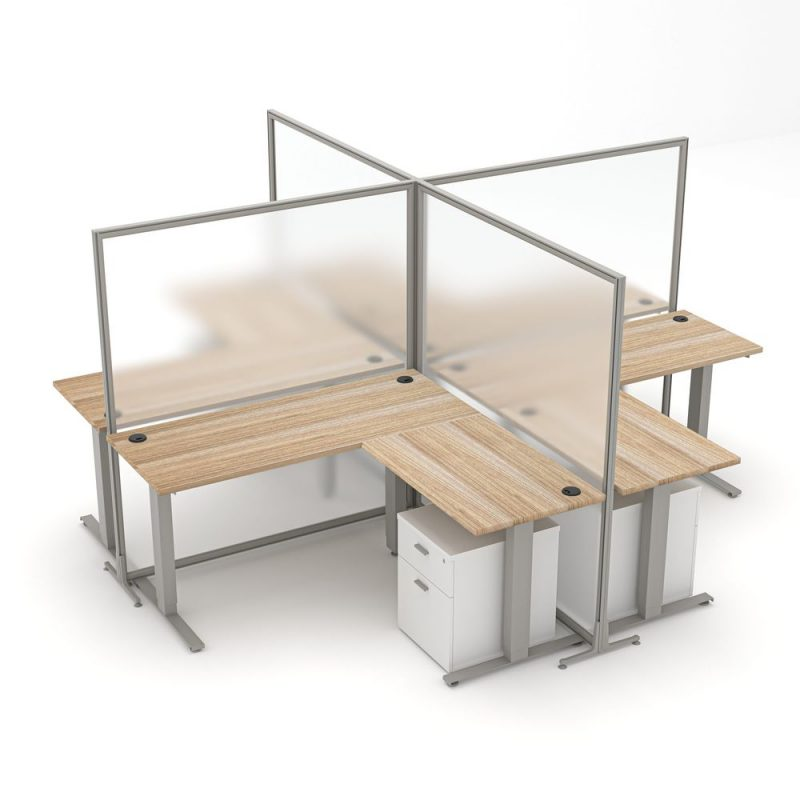 Render of Four Person Freestanding Polycarbonate Office Partitions with Sit-to-Stand Desks/File Cabinets