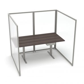 Render of Freestanding U-Shaped Polycarbonate Cubicle and Electric Sit-to-Stand Desk