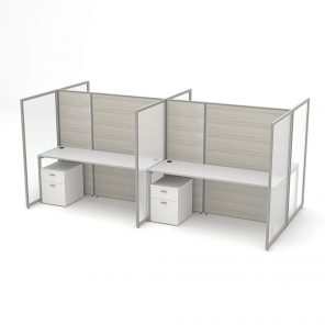 Render of Modern Office Cubicles and Desks