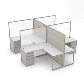"""Render of 4-Person L-Shaped Office Cubicles 