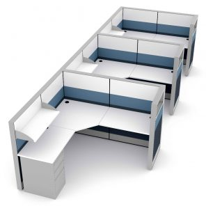 Render of Contemporary Cubicle Workstations