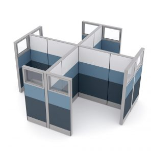 Render of Office Partition Cubicle Walls