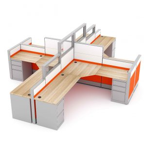 Render of L-Shaped Cubicle Workstations