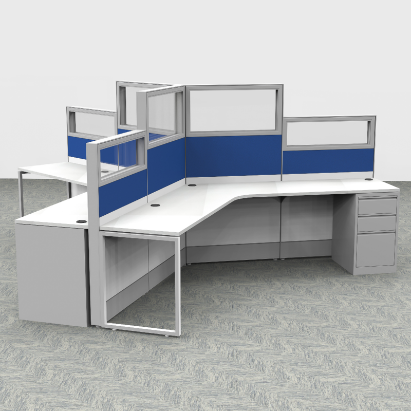 Render of 120 Degree Customer Service Cubicles