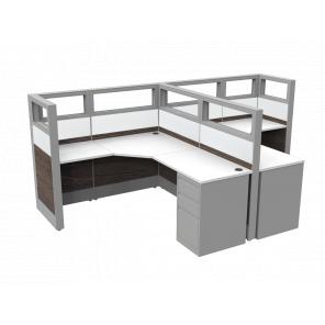 Render of2-Person Workstation with L-Shaped Desks