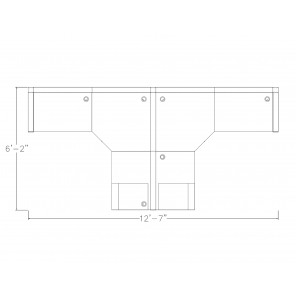 Footprint of 2-Person Workstation with L-Shaped Desks