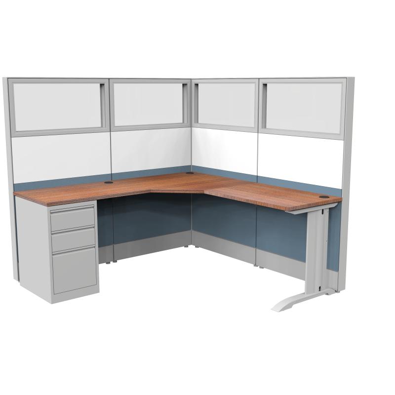 Render of Modern Cubicle Workstation with Desk