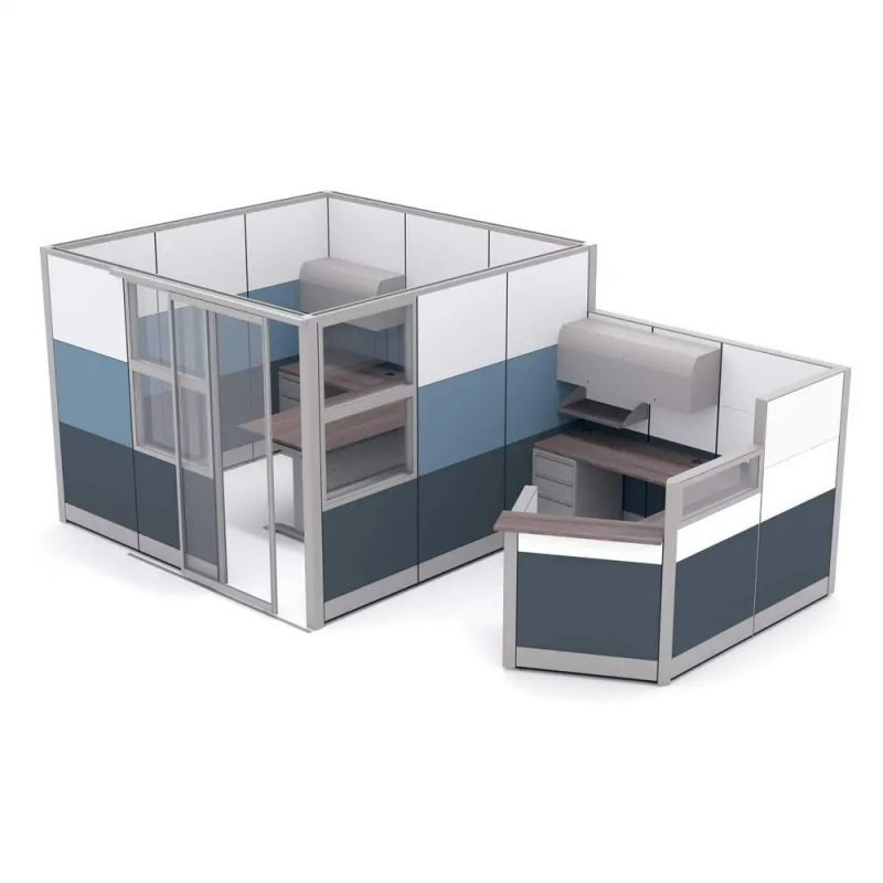 Render of Modular Office Walls With Reception Workstation