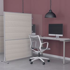 Picture of Laminate Office Partition with Acrylic Desk Divider and Workstation