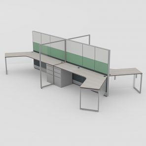 Render of 4-Person 120 Degree Cubicle Workstation