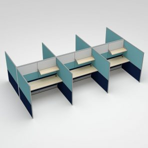 Render of 6-Person Call Center Cubicles