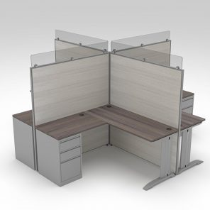 Render of 4-Person L-Shaped Cubicle Workstations
