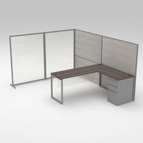 Render of L-Shaped Cubicle Desk Workstation