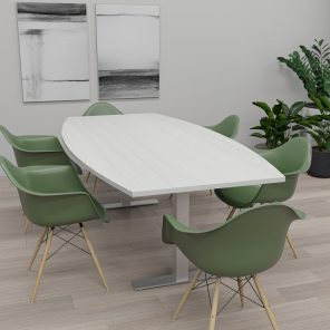 Render of 8' Boat-Shaped Conference Table with T-Bases