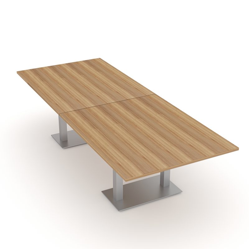 Render of 10 Person Rectangle Conference Table with Metal Bases