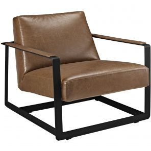 Seg Upholstered Faux Leather Accent Chair