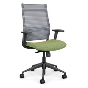 Wit Series Highback Chair with Mesh Back - Lime Green Fabric