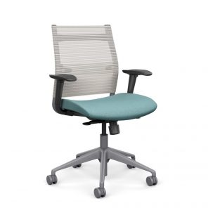 Wit Series Midback Chair with Frost Mesh Back - Cool Aqua Fabric