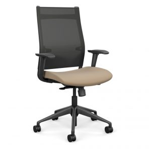 Wit Series Highback Task Chair with Mesh Back - Toffee Fabric