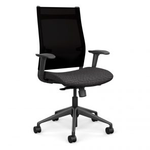 Wit Series Highback Chair with Black Mesh Back - Silver Fabric