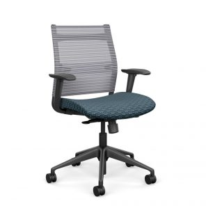 Wit Series Midback Chair with Fog Mesh Back - Blue Lagoon Fabric