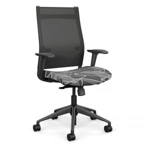 Wit Series Highback Chair with Nickel Mesh Back - Charcoal Fabric