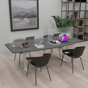 Render of Harmony Series Conference Table with Acrylic Sneeze Guards