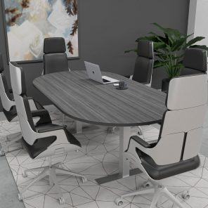 Render of 6 Person Conference Table with Metal Bases