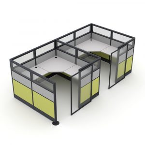 Render of 2 Person Cubicle System with Sliding Doors
