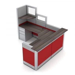 Render of Cubicle Reception Workstation Desk