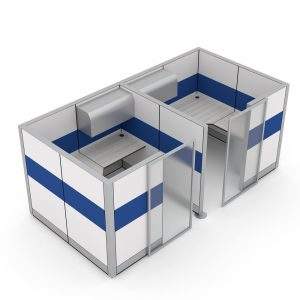 Render of 2-Person Cubicle Workstation with Storage and Sliding Door