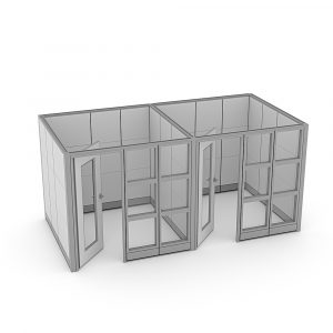 Render of Sapphire Wall System Glass Office Cubicles with Door